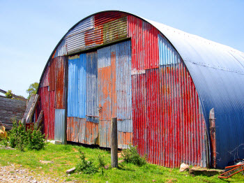 Mismatched red shed