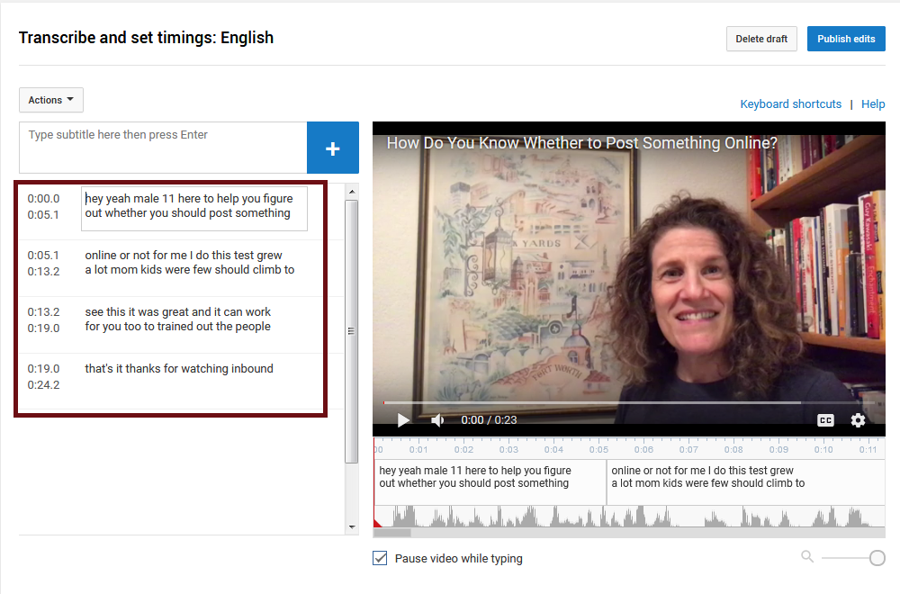 YouTube Studio interface: Editing the captions