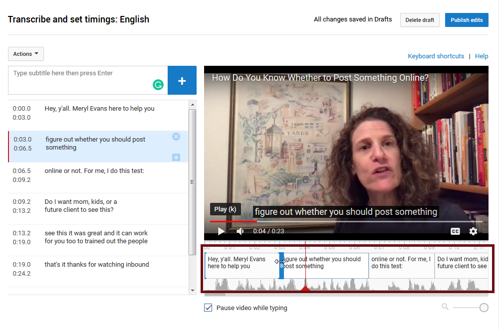 YouTube Studio interface: editing the timing of captions