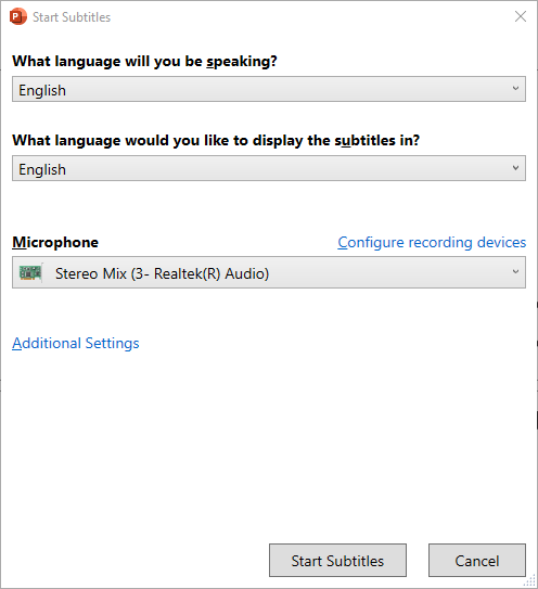 PowerPoint add-in pop up box with language options