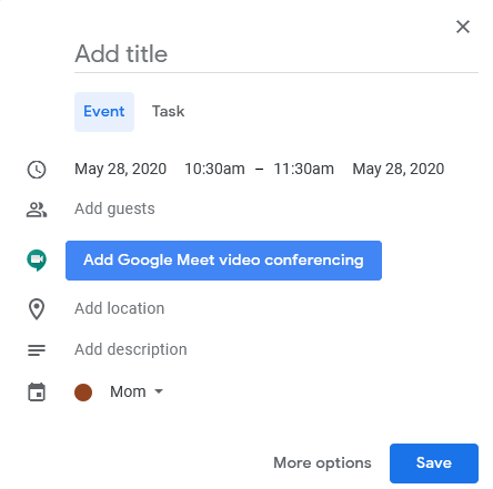 Schedule Google Meet meeting in Google Calendar