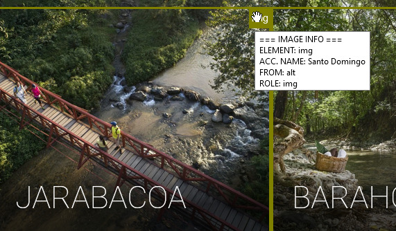 "Scene from Jarabacoa of a bridge over rocky waters. ALT text says ""Santo Domingo."""