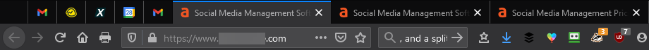 Browser displays three tabs that all say 'Social Media Management' making it hard to tell which tab to open.
