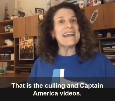 """Still of Meryl's talking head video with captions: """"That is the culling and Captain America Videos."""""""