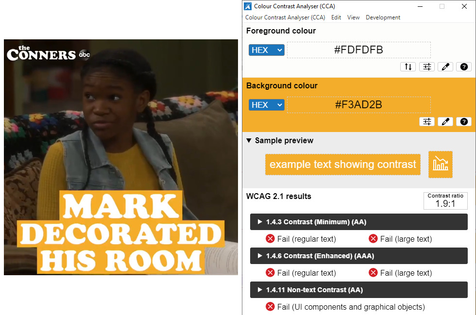 A dark-skinned girl with orange and white captions and a report card shows every test failed